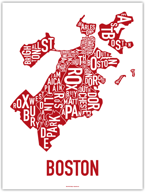 A poster of Boston neighborhoods.